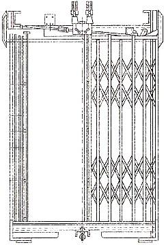 Раздвижная решетчатая дверь кабины